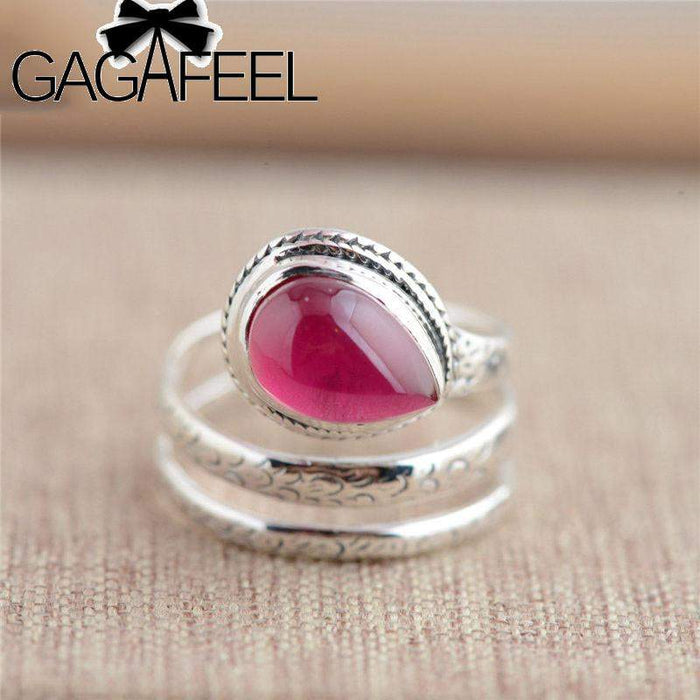 GAGAFEEL 925 Sterling Silver Rings Natural Oval Red Corundum Wedding Rings Opening Rings for Women Fashion Jewelry Gift Dropship - successmall