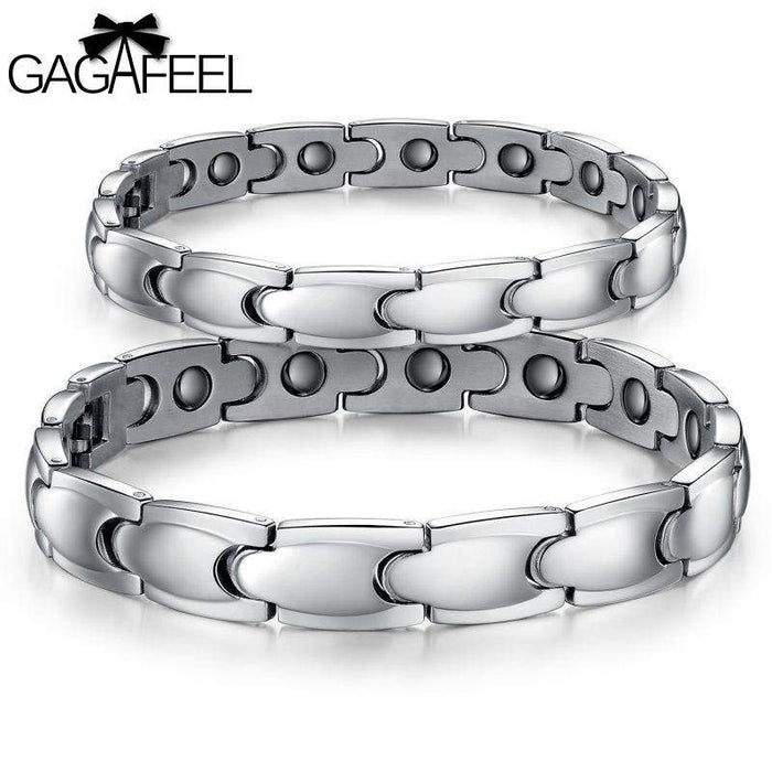 GAGAFEEL Magnetic Bracelet Men Women Titanium Steel Health Jewelry Lovers Bangle Wristband Accessory 10MM Width Dropshipping - successmall