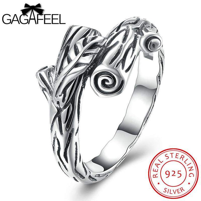 GAGAFEEL Branches Rings Real Solid 925 Sterling-Silver-Jewelry Finger Bijoux With Plant Design For Women Anniversary Jewelry - successmall