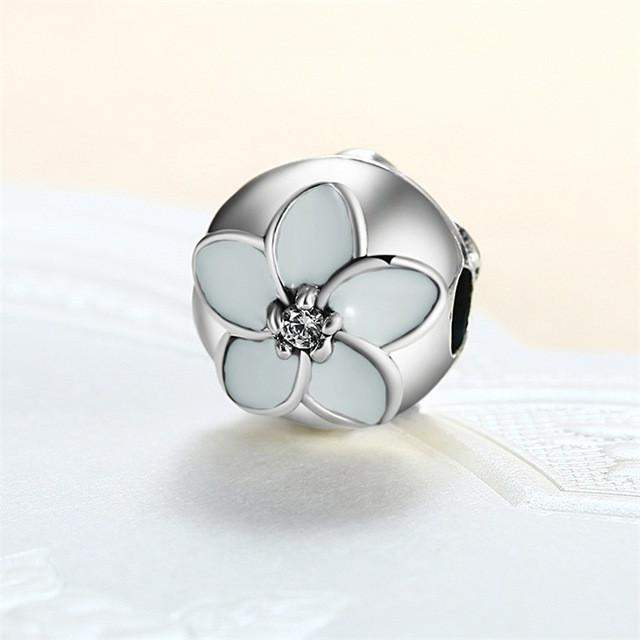European Pink White Cherry Blossoms Stopper Flower Clip Beads Fit Pandora Charm Bracelet Clips Locks 925 Sterling Silver Charms