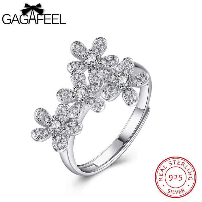 GAGAFEEL 100% 925 Sterling Silver Rings Sparking Four Daisy Flowers Women Finger Ring Open Clear CZ Zircon Original Fine Jewelry - successmall