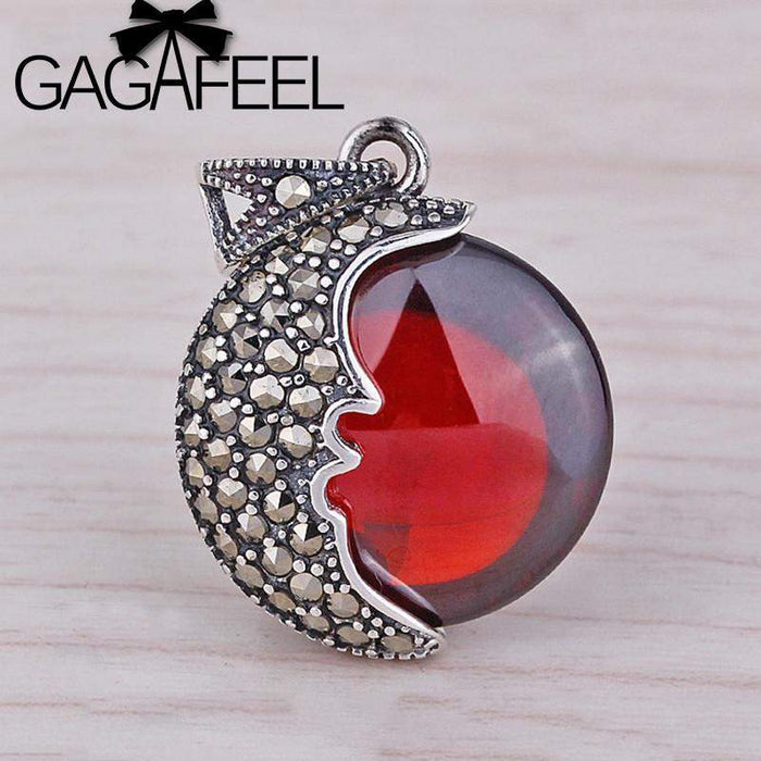 GAGAFEEL Beautiful Garnet Moon 925 Sterling Silver Charm Pendant For Necklace or Bracelet Wholesale Thailand DIY Accessories - successmall