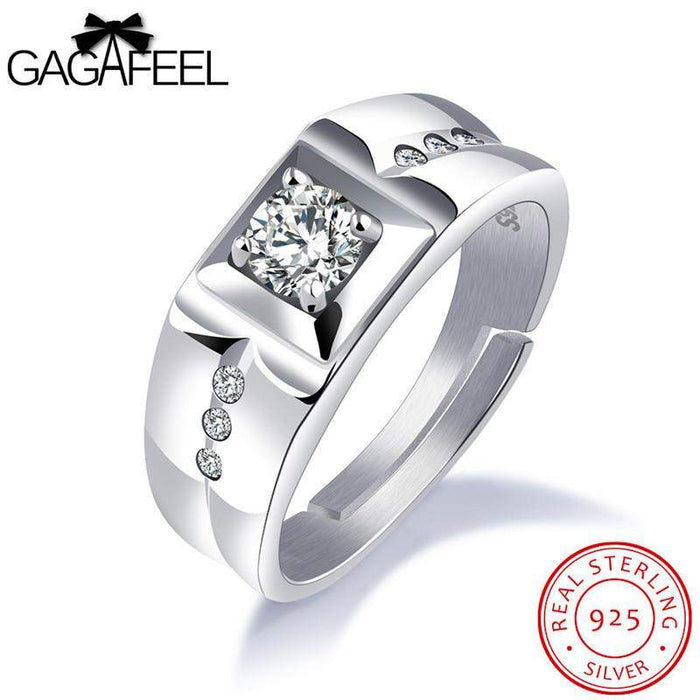 GAGAFEEL Men Wedding Rings 925 Sterling-Silver-Jewelry Romantic Changeable Free Size Design Finger Zircon Ring To Male Boyfriend - successmall