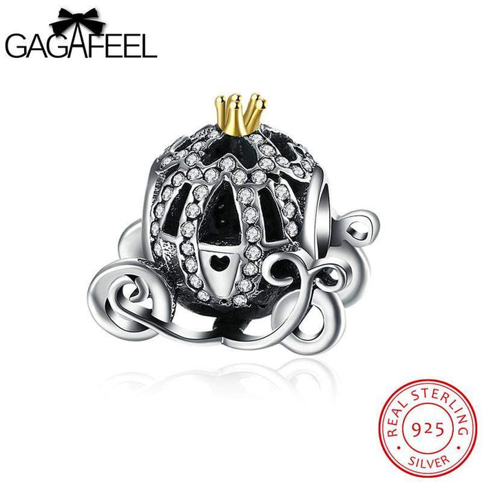 GAGAFEEL Pumpkin Carriage Bead Fit For Pandora Bracelet Necklaces 925 Sterling Silver Jewelry DIY Charm CZ Beads Dropshipping - successmall