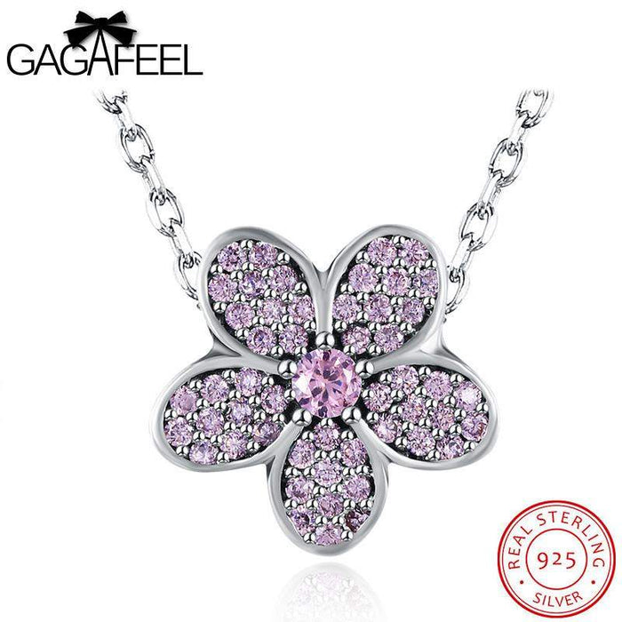 GAGAFEEL Purple Flower Pendant Necklace 925 Sterling Silver Jewelry For Women Fashion Sparking CZ Zircon For Party Dropshipping - successmall