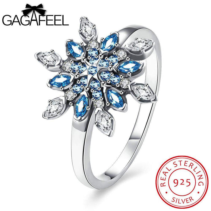 GAGAFEEL Snowflake Ring Genuine Sterling Silver Jewelry Sparking Blue Crystal Clear CZ Zircon For Wedding Party Accessories - successmall