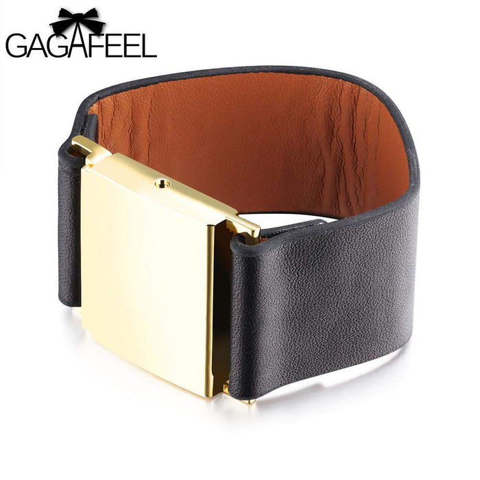 GAGAFEEL Vintage Bracelets & Bangles Women Jewelry Cowhide Leather 30MM Width Wrap Punk Alloy Charm Female Bangles Watch Gifts - successmall