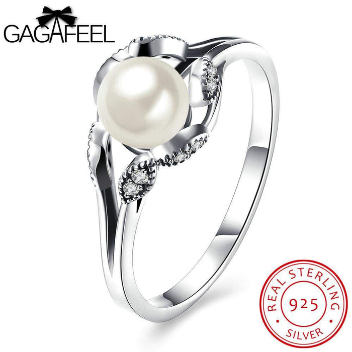 GAGAFEEL Women Finger Ring Sterling Silver Jewelry Female With Simulated Pearl Clear Zircon Design For Evening Party Accessory - successmall
