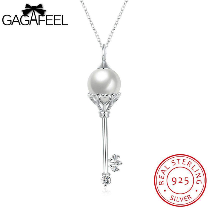 GAGAFEEL Women Necklace 925 Sterling-Silver-Jewelry Chains Fine Key Pendant Fashion Plated Imitation Pearl Clear CZ Zircon - successmall