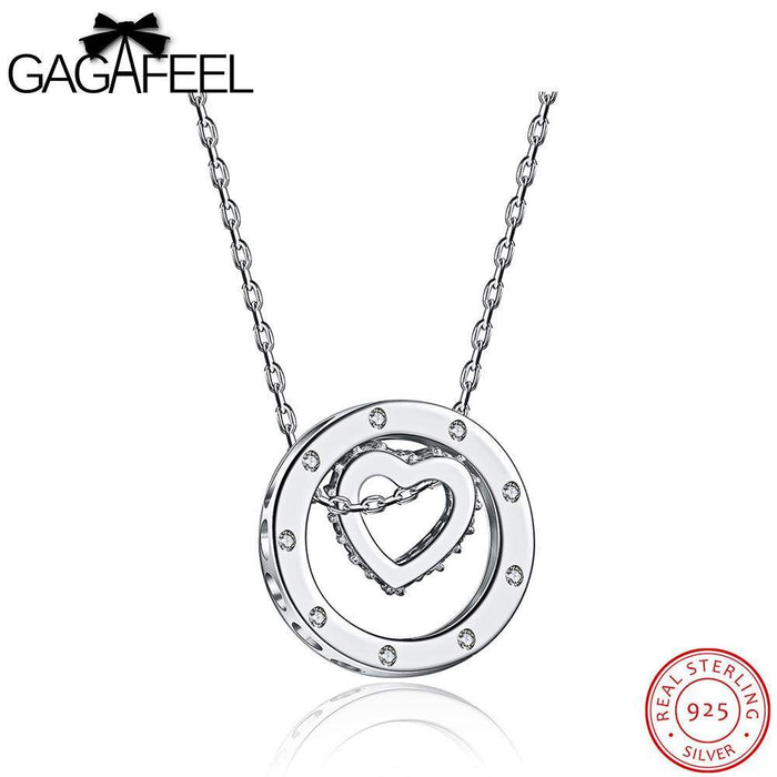 GAGAFEEL Cute 925 Sterling Silver Heart Pendant Necklace Silver/Rose Gold Color Jewelry For Women With Hollow Round Pendants - successmall