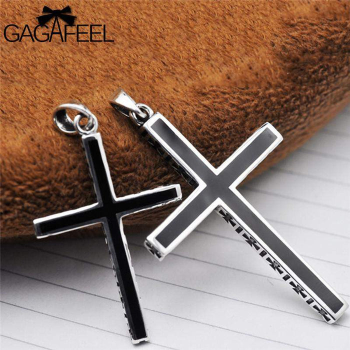 GAGAFEEL Punk 925 Sterling Silver Cross Pendant Necklace For Men Women Unisex Lover Couple Jewelry Bijoux No Chain For Party - successmall