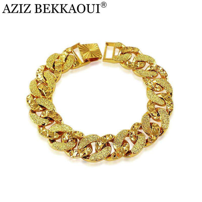 Promotion! Gold Color Bracelet &Bangle for women Big thick bracelets Bangles for men accessories top workmanship Jewelry