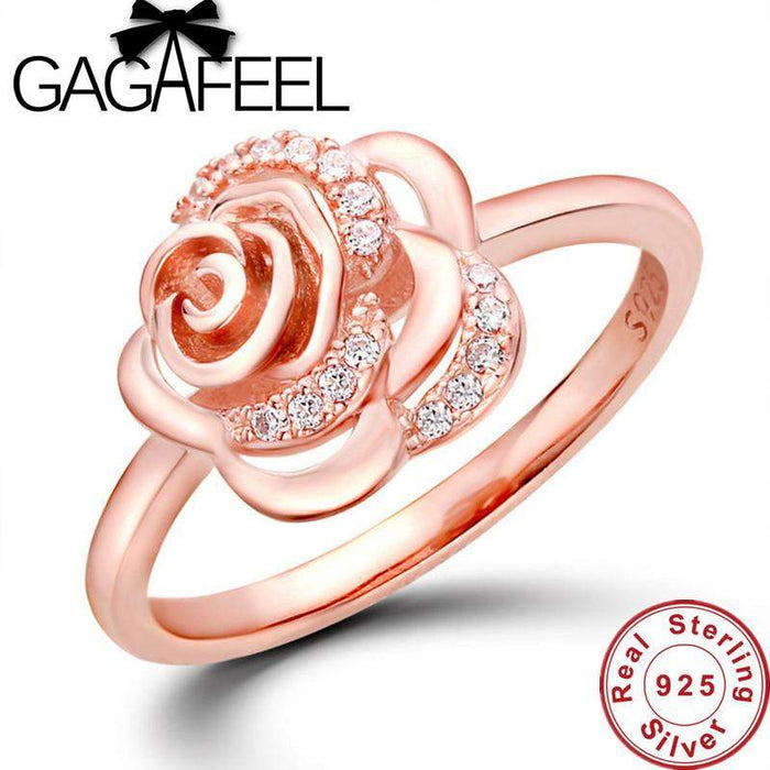 New Arrival Luxury wedding rings for women Rose design ring Real Pure 925 sterling silver ring rose gold color rings WR002 - successmall