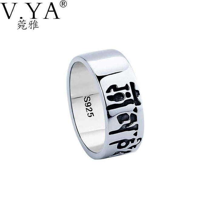 V.YA 100% Real Pure 925 Sterling Silver Ring The Sixth Mantra Ring Lucky Words Ring Sanskrit Letter Ring Fine Jewelry HYR03 - successmall