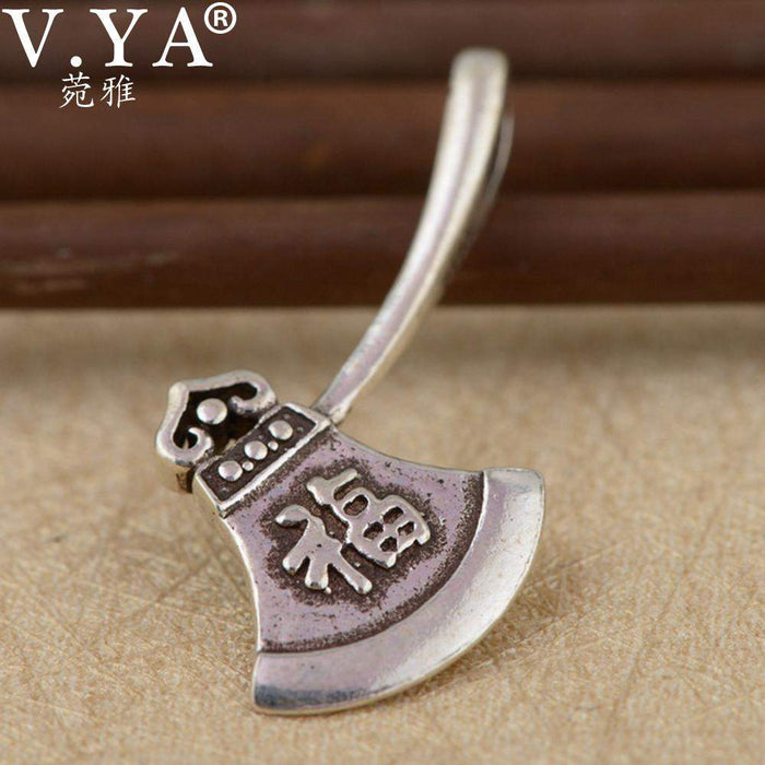 V.YA Unique Axes Shape Pendant Real Pure 925 Sterling Silver Chinese Vintage Style ax Pendant for Men Women Kids - successmall