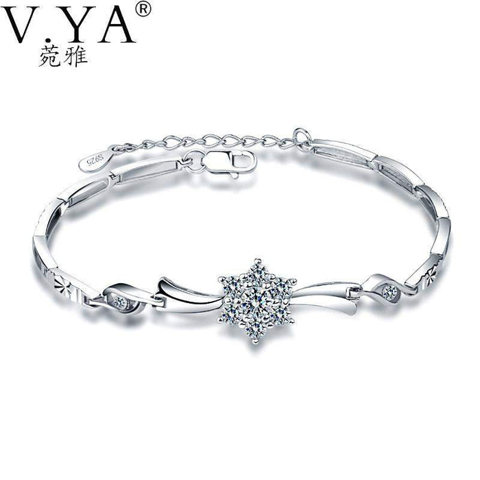 AAA CZ Crystal 100% Real 925 Sterling Silver Bracelet for Women Jewerly High Quality S925 Solid Silver Chain Bracelets CB50