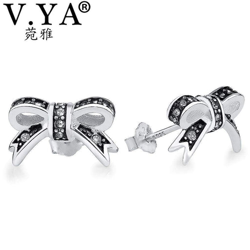 V.YA Black Bowknot Stud Earrings for Women Wedding Original 925 Sterling Silver Cute Bow Knot Earring Best Gift For Female Girl