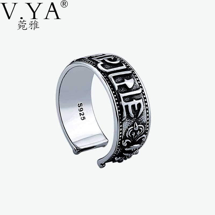 100% Real Pure 925 Sterling Silver Ring The sixth mantra Ring Lucky Opening Rings for Men Women Fine Jewelry free shipping HYR02 - successmall