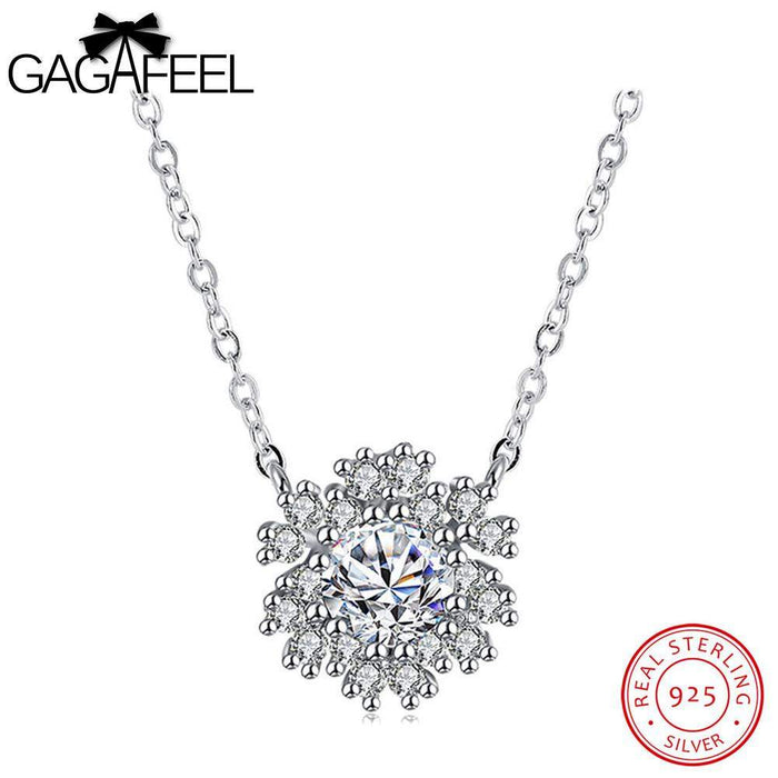 GAGAFEEL Real Silver 925 Jewelry Snowflake Necklaces Pendant For Women Chain Cubic Zircon Choker Necklace Gifts For Girls Lady - successmall
