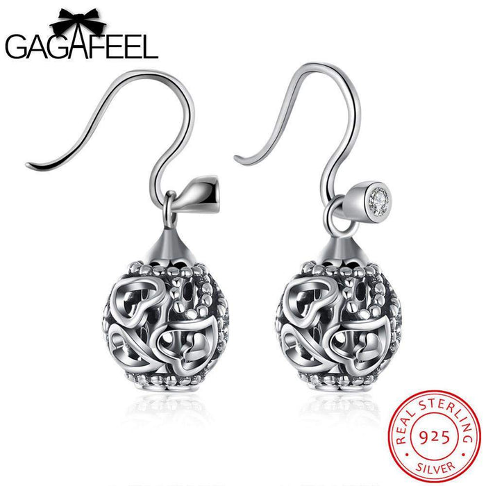 GAGAFEEL Pending For Women Hollow Ball Heart Dangle Earrings 925 Sterling Silver Jewelry Cubic Zircon Gift For Lover Couple - successmall