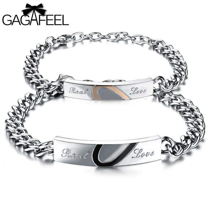 GAGAFEEL Stainless Steel Bracelets Bangles Adjustable Link Chain Lovers Jewelry Crystal Heart Real Love Bracelet Dropshipping - successmall
