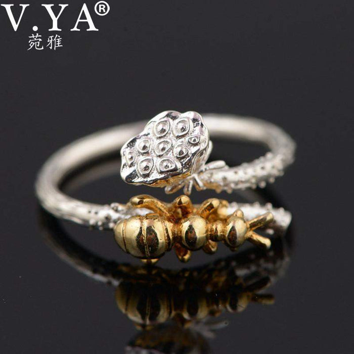 V.YA 100% Pure 925 Sterling Silver Open Rings Unique Animal Ant and Lotus Vintage Finger Rings for Women Jewelry Accessories - successmall