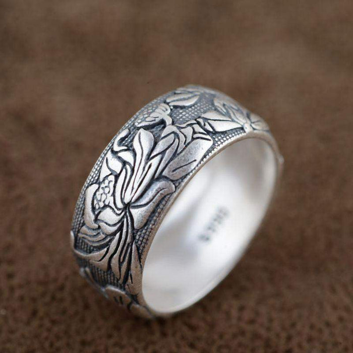 V.YA Pure 925 Sterling Silver Rings Flower Pattern New Fashion 100% S925 Solid Sterling Silver Ring for Women Men Jewelry - successmall