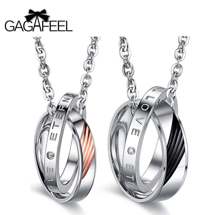 GAGAFEEL Charms Necklace Pendants Men Jewelry Choker Circle Stainless Steel Love Couple For Lover Valentine Gifts - successmall