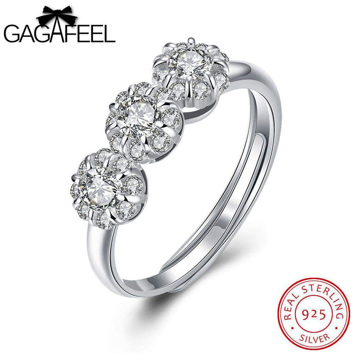 GAGAFEEL Sparking Crystal Sterling Silver Ring With Big Store Elegant Women Jewellery Present Party Accessorise Open Design - successmall