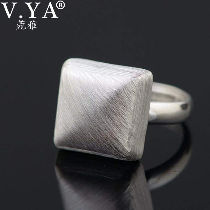 V.YA New Geometry Square Shape Rings for Women Real Pure 925 Sterling Silver Adjustable Simple Finger Rings Jewelry Accessories - successmall