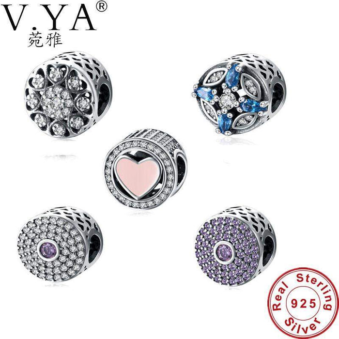 V.YA 100% Authentic 925 Sterling Silver Heart Shape Charms Beads Fit Pandora Charm Bracelet DIY Original Silver Jewelry Making - successmall