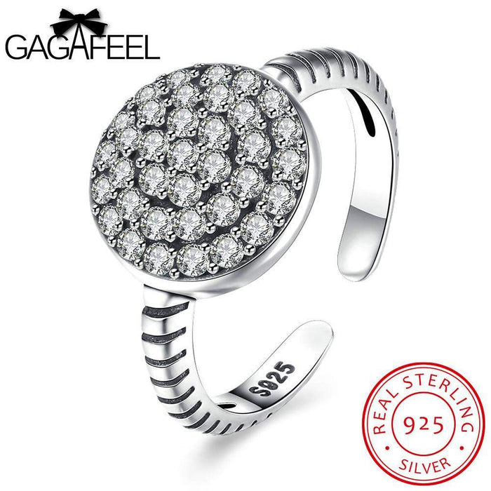 GAGAFEEL Wedding Finger Ring Authentic 925 Sterling Silver Open Rings For Women Jewelry Accessorise Round Big Zircon Dropshiping - successmall