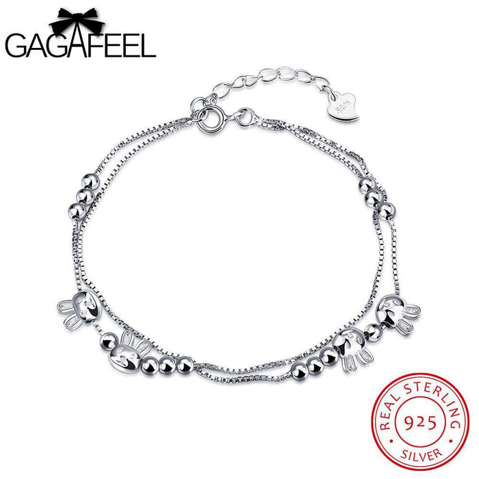 GAGAFEEL Cute Cat Women Bracelet Sterling Silver Jewelry White Color Round Bead Female Watch Bangle Chain For Girls Friendship - successmall