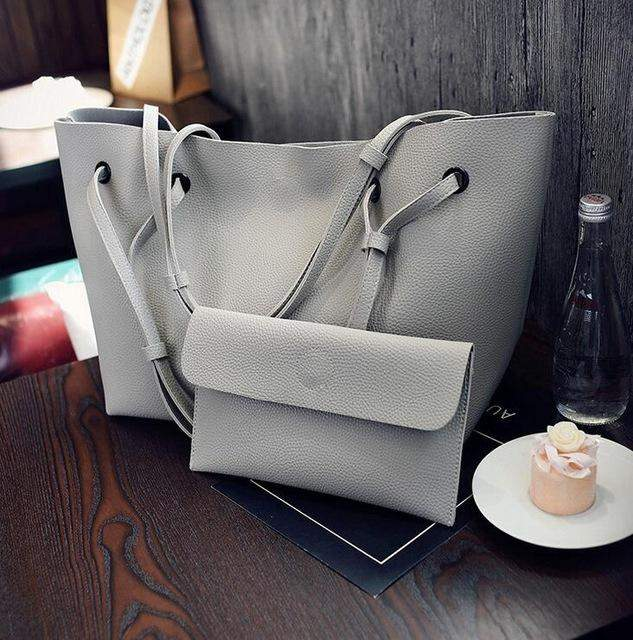 2017 PU Leather Handbags Women's Designer Handbag The Big Women's Shopping Bag Large Handbags Shoulder Bags Simple two sets - successmall