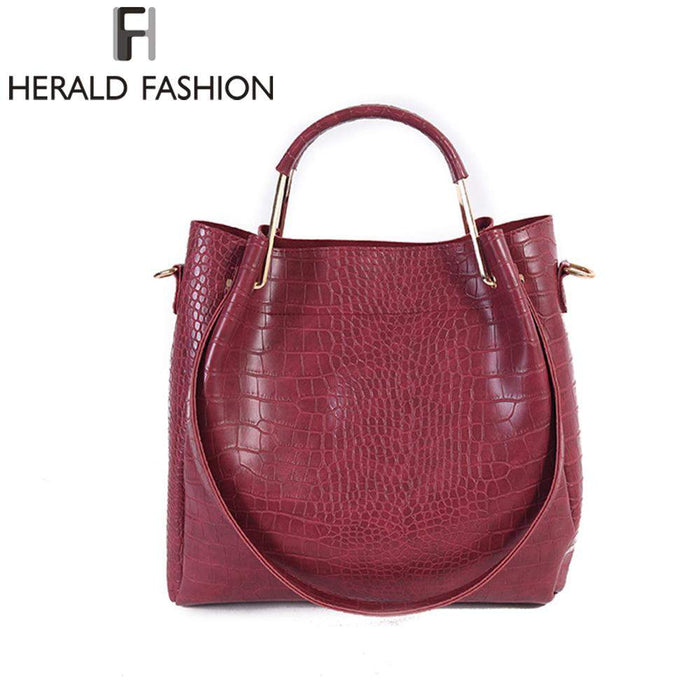 Herald Fashion Crocodile PU Leather Design Women Handbags Solid High Capacity Crossbody Bag Stone Pattern Bucket Shoulder Bags