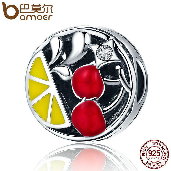 BAMOER Original Design 925 Sterling Silver Fruits Juicy Red Cherry CZ Beads fit Charm Bracelet & Bangle DIY Jewelry Gift SCC146