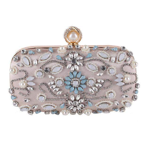 Luxury Clutch Purse Women Crystal Diamond Evening Bags White Pearl Bea