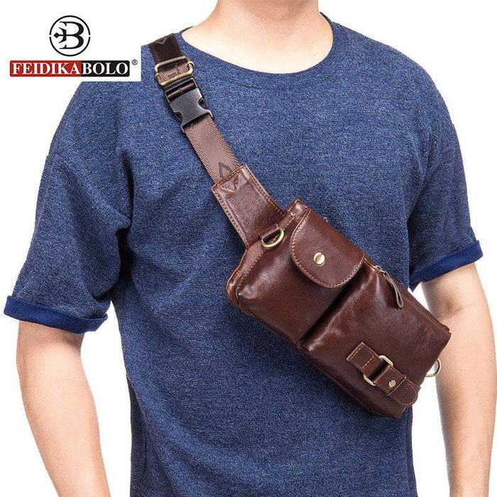 FEIDIKA BOLO Brand Genuine Leather Bag Men Messenger Bags Single Rucksack Chest Bag Leather Shoulder Bags Pack Leather Handbags