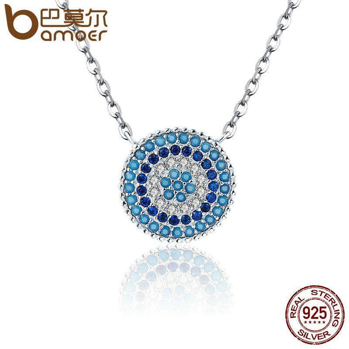 BAMOER Popular 925 Sterling Silver Round Blue Crystal Lucky Blue Eyes Women Pendant Necklaces Authentic Silver Jewelry SCN099