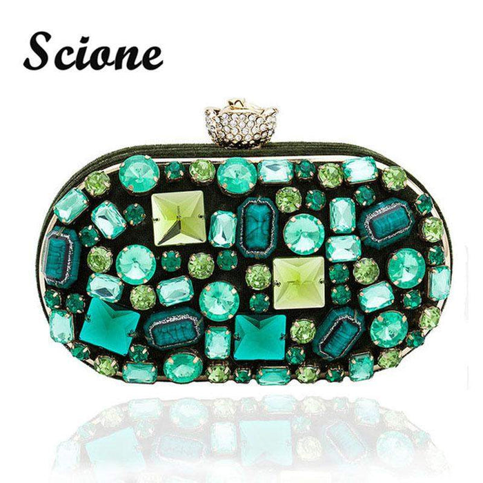 Luxury Vintage Women's Emerald Jewelry Clutch Bags Handmade Beaded Green Gem Lady Evening Bag Wedding Party Banquet Purses 845tp