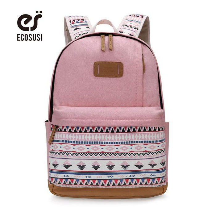 ECOSUSI Canvas Printing Backpack Women Cute School Backpacks for Teenage Girls Vintage Laptop Bag Rucksack Bagpack Female - successmall