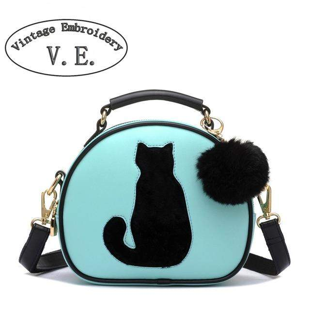 Vintage Women Crossbody Bags Ladies Leather Handbags With Fur Ball Cat Printing Woman Shoulder Messenger Tote Bag Bolsos Mujer - successmall