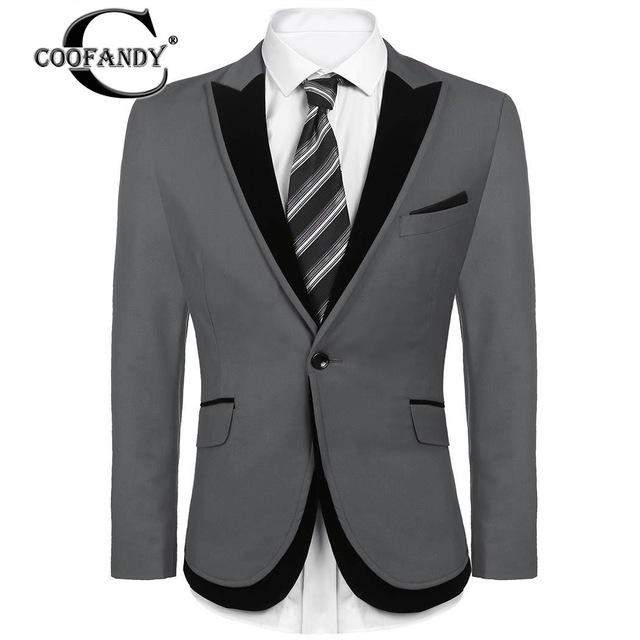 COOFANDY Cloyhes Male Top Suit 2017 Stylish Male Wear Patchwork Slim Fit Dinner Party Single Button Blazer Jacket US Size - successmall