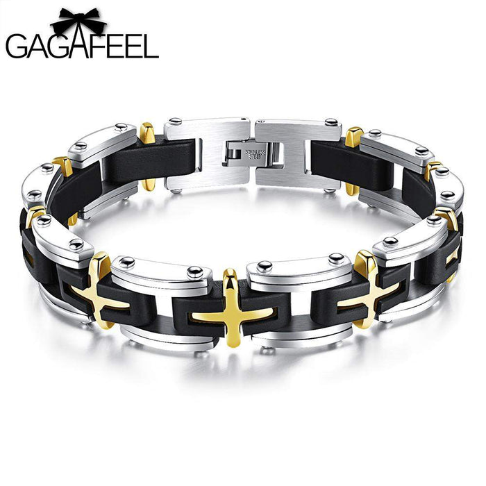 GAGAFEEL Cross Wristband Silicone Bracelet Brand Bangles For Men Punk Black Stainless steel Link Chain Classic Jewelry Gifts - successmall