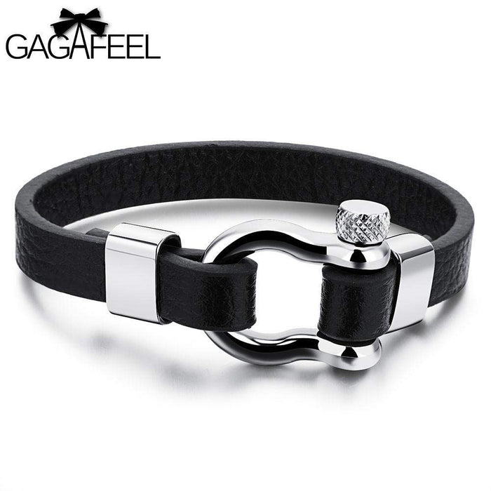 Unique Cowhide Leather Bracelets Cuff for Men Male Fashion Punk Jewelry Men Bracelet Charm Bangles Watch Wrap Friendship Gifts - successmall