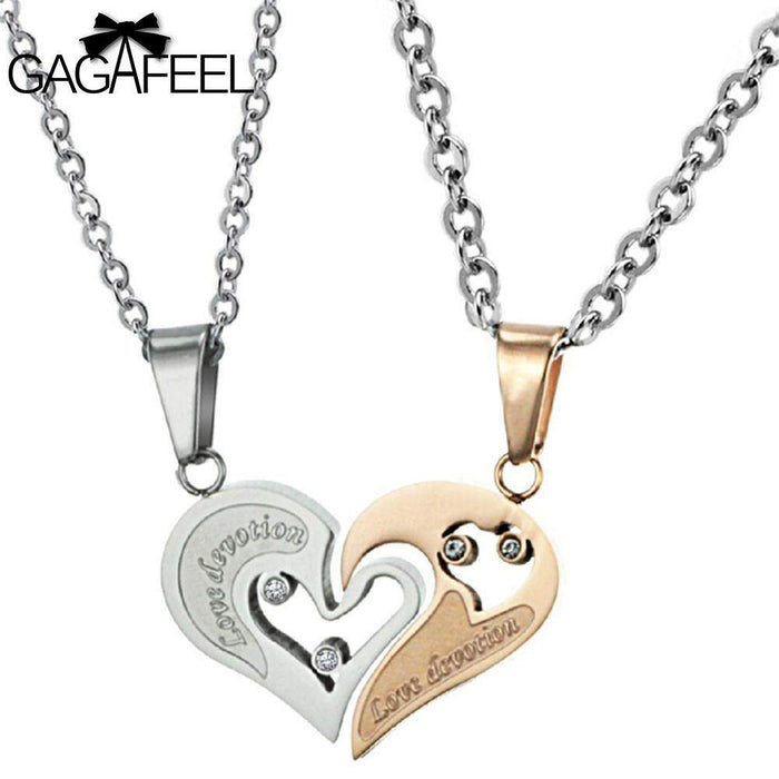 Fashion Stainless Steel Gold Color Fine Jewelry Men Women Couples Pendant Necklace Love Heart Crystal Natural Stone Gifts N537