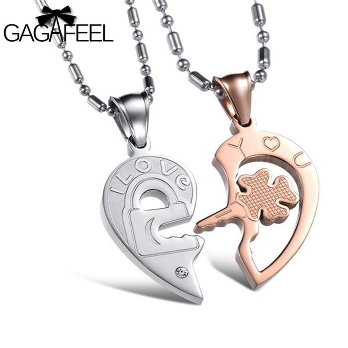 Stainless Steel Fine Jewelry Men Women Couples Crystal Natural Stone Clover Key Pendant Necklace Lovers Best Gifts Vintage N844