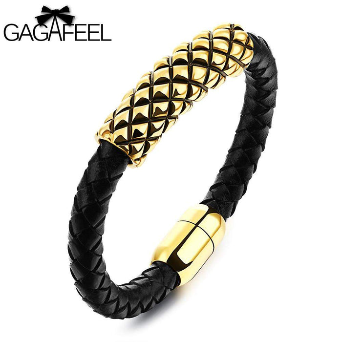 GAGAFEEL Magnetic Bracelet Men Stainless Steel Bracelets Cowhide Leather Jewelry Golden Rope Chain Bangle gifts for friendship - successmall