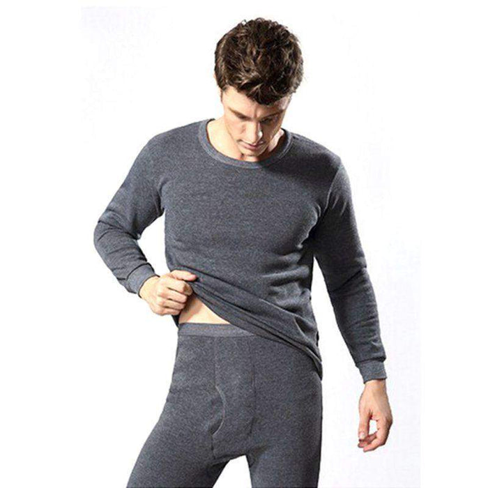 2Pcs Winter Warm Men Cotton Thermal Underwear Sets Long Johns Tops Bottom Wear 3 Colors