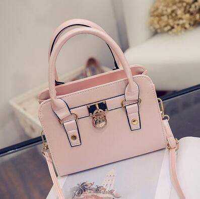 Fashion new handbags High quality PU leather Women bag Korean Simple Square package Lock Pure color wild shoulder Female bag